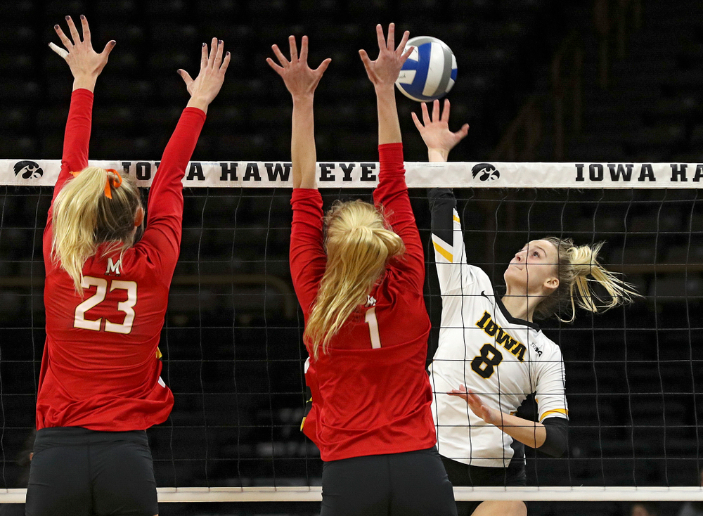 Iowa's Kyndra Hansen (8) lines up a shot during the first set of their match at Carver-Hawkeye Arena in Iowa City on Saturday, Nov 30, 2019. (Stephen Mally/hawkeyesports.com)