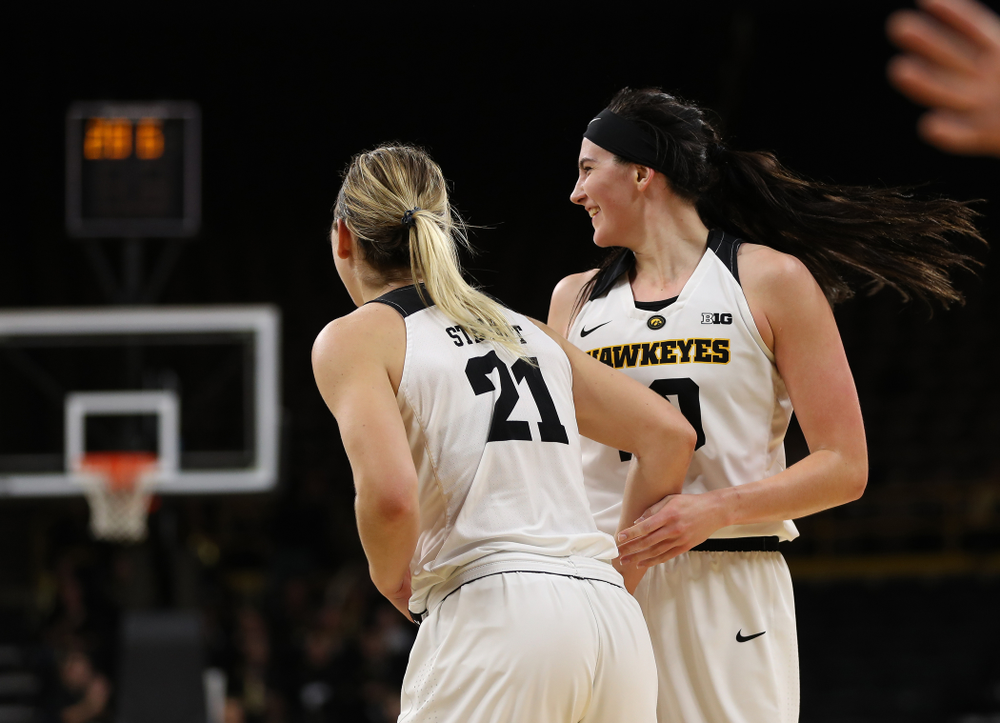 Iowa Hawkeyes forward Megan Gustafson (10) and forward Hannah Stewart (21) against the Nebraska Cornhuskers Thursday, January 3, 2019 at Carver-Hawkeye Arena. (Brian Ray/hawkeyesports.com)