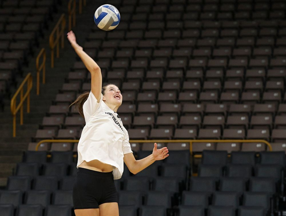 Iowa's Courtney Buzzerio (2) during Iowa Volleyball's Media Day at Carver-Hawkeye Arena in Iowa City on Friday, Aug 23, 2019. (Stephen Mally/hawkeyesports.com)