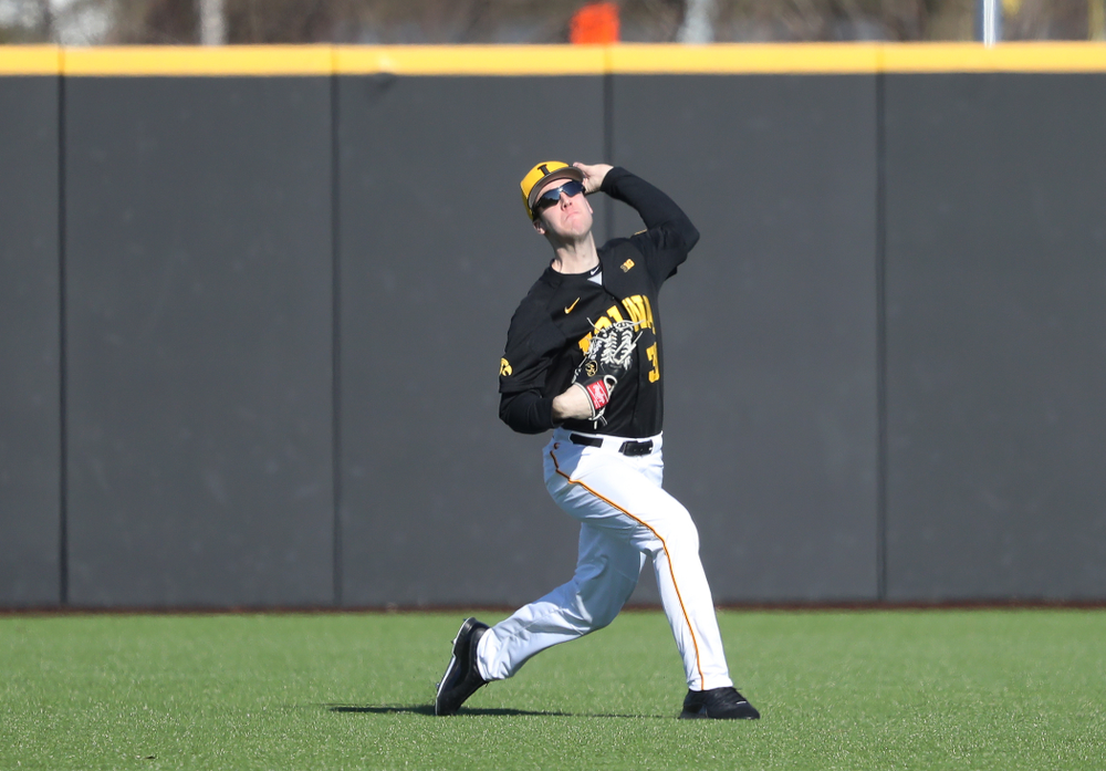 Iowa Hawkeyes Connor McCaffery (30) against the Bradley Braves Tuesday, March 26, 2019 at Duane Banks Field. (Brian Ray/hawkeyesports.com)