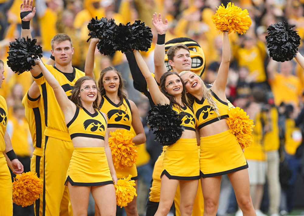 Iowa Spirit Squad members wave to the University of Iowa Stead Family Children's Hospital between the first and second quarter of their game at Kinnick Stadium in Iowa City on Saturday, Sep 28, 2019. (Stephen Mally/hawkeyesports.com)
