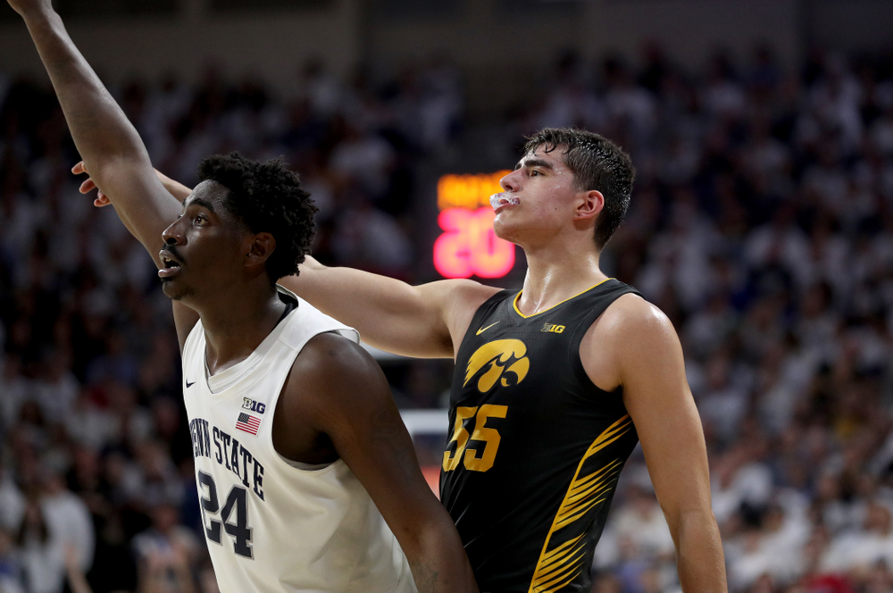 Iowa Hawkeyes forward Luka Garza (55) against Penn State Saturday, January 4, 2020 at the Palestra in Philadelphia. (Brian Ray/hawkeyesports.com)