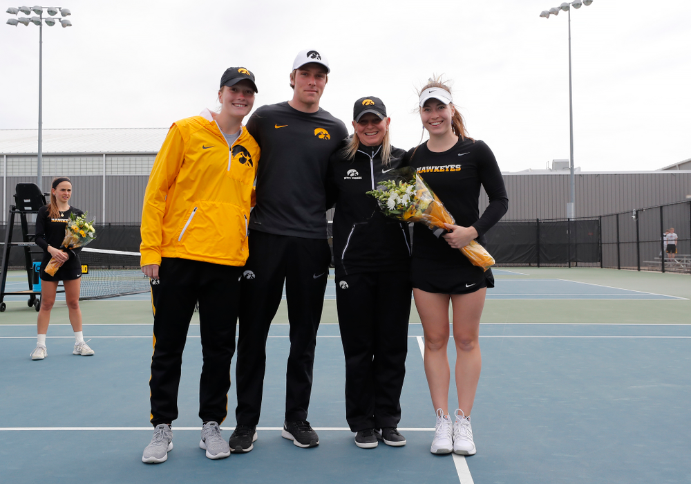 Iowa's Anastasia Reimchen during Senior Day activities before their match against the Wisconsin Badgers Sunday, April 22, 2018 at the Hawkeye Tennis and Recreation Center. (Brian Ray/hawkeyesports.com)
