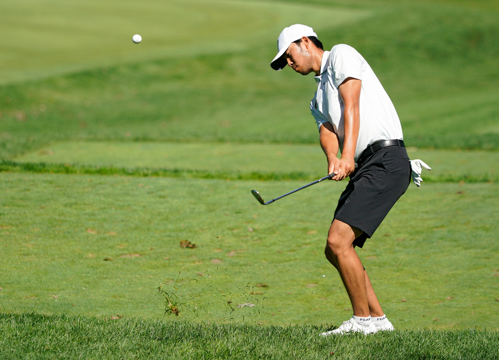 Iowa's Joe Kim chips into the green during the second day of the Golfweek Conference Challenge at the Cedar Rapids Country Club in Cedar Rapids on Monday, Sep 16, 2019. (Stephen Mally/hawkeyesports.com)