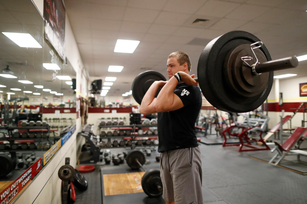 Iowa Hawkeyes quarterback Nathan Stanley (4) works out at his high school Wednesday, May 30, 2018 in Menomonie, Wisc. (Brian Ray/hawkeyesports.com)