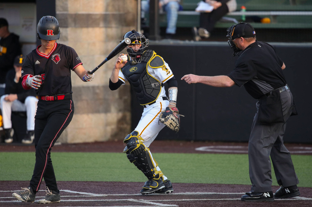 Iowa catcher Austin Martin  at game 1 vs Rutgers on Friday, April 5, 2019 at Duane Banks Field. (Lily Smith/hawkeyesports.com)