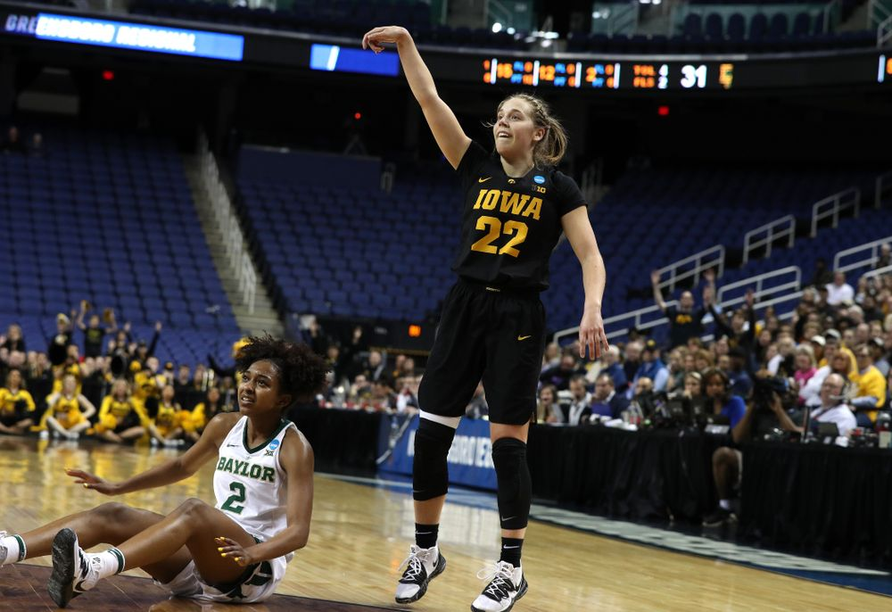 Iowa Hawkeyes guard Kathleen Doyle (22) against the Baylor Lady Bears in the regional final of the 2019 NCAA Women's College Basketball Tournament Monday, April 1, 2019 at Greensboro Coliseum in Greensboro, NC.(Brian Ray/hawkeyesports.com)