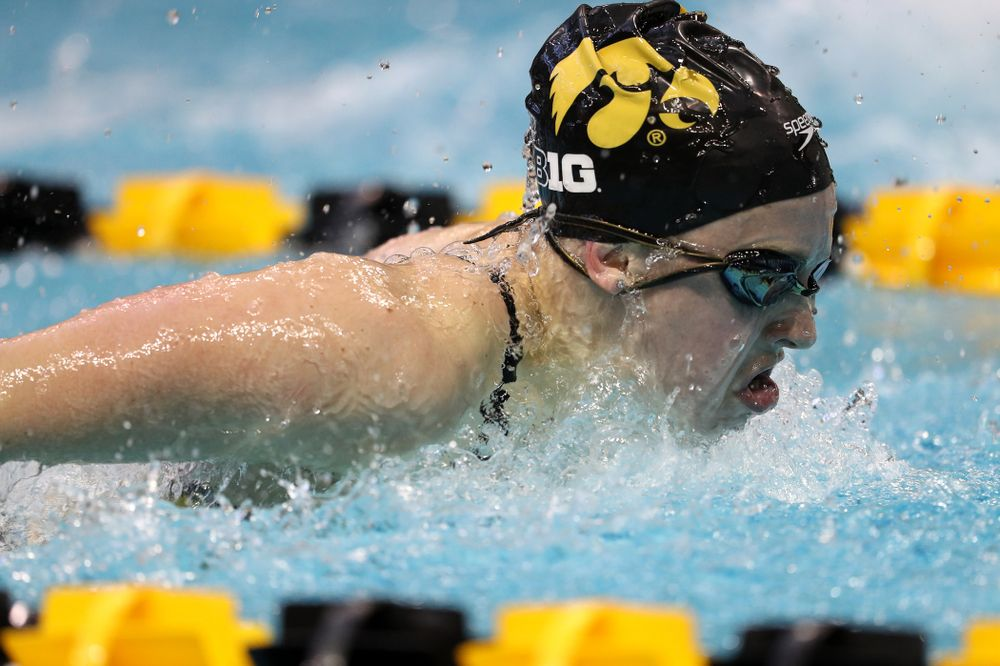 Iowa's Amy Lenderink swims the 200 yard butterfly during a double dual against Wisconsin and Northwestern Saturday, January 19, 2019 at the Campus Recreation and Wellness Center. (Brian Ray/hawkeyesports.com)