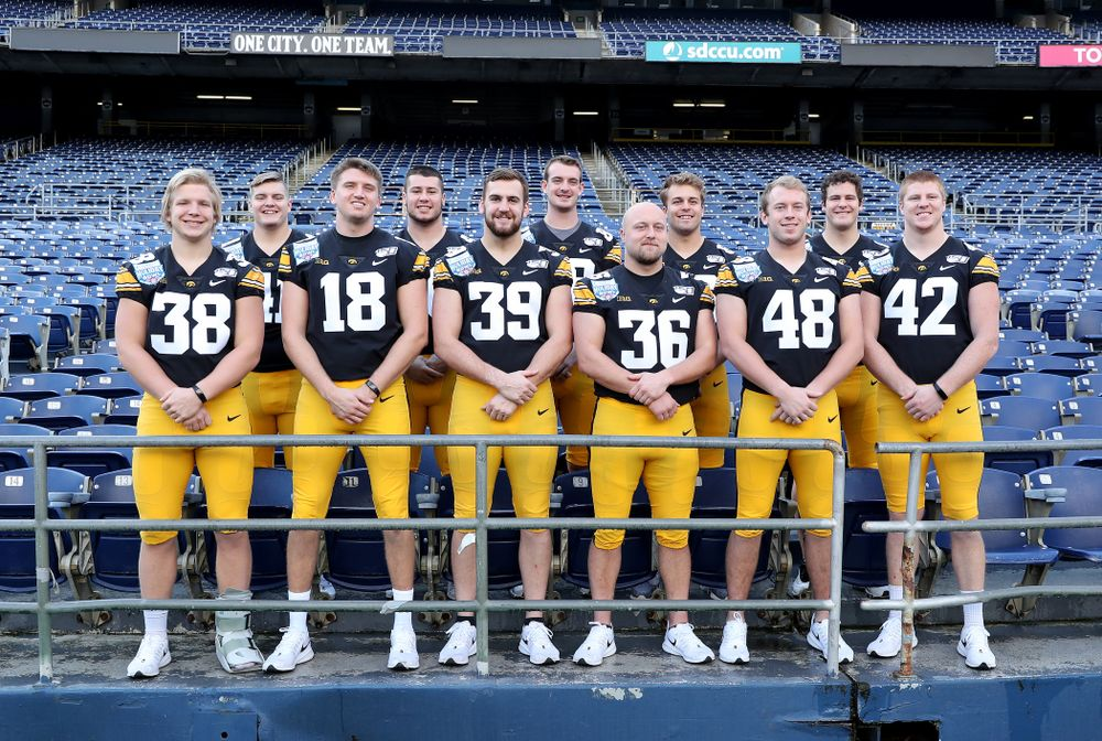 The Hawkeye Football tight ends and fullbacks following the team photo Wednesday, December 25, 2019 at SDCCU Stadium in San Diego. (Brian Ray/hawkeyesports.com)