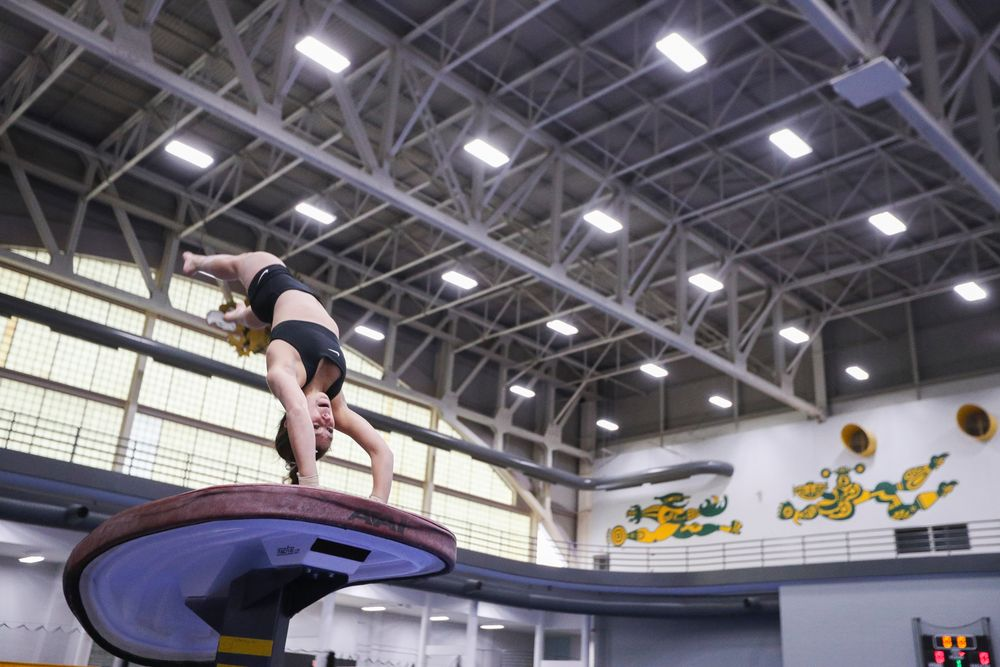 Bridget Killian performs on the vault during the Iowa women's gymnastics Black and Gold Intraquad Meet on Saturday, December 7, 2019 at the UI Field House. (Lily Smith/hawkeyesports.com)