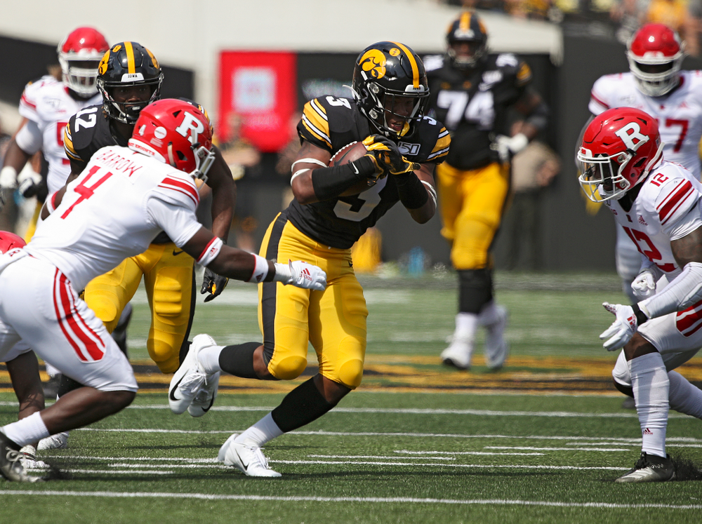 Iowa Hawkeyes wide receiver Tyrone Tracy Jr. (3) runs after pulling in a pass on a 33-yard reception during the third quarter of their Big Ten Conference football game at Kinnick Stadium in Iowa City on Saturday, Sep 7, 2019. (Stephen Mally/hawkeyesports.com)