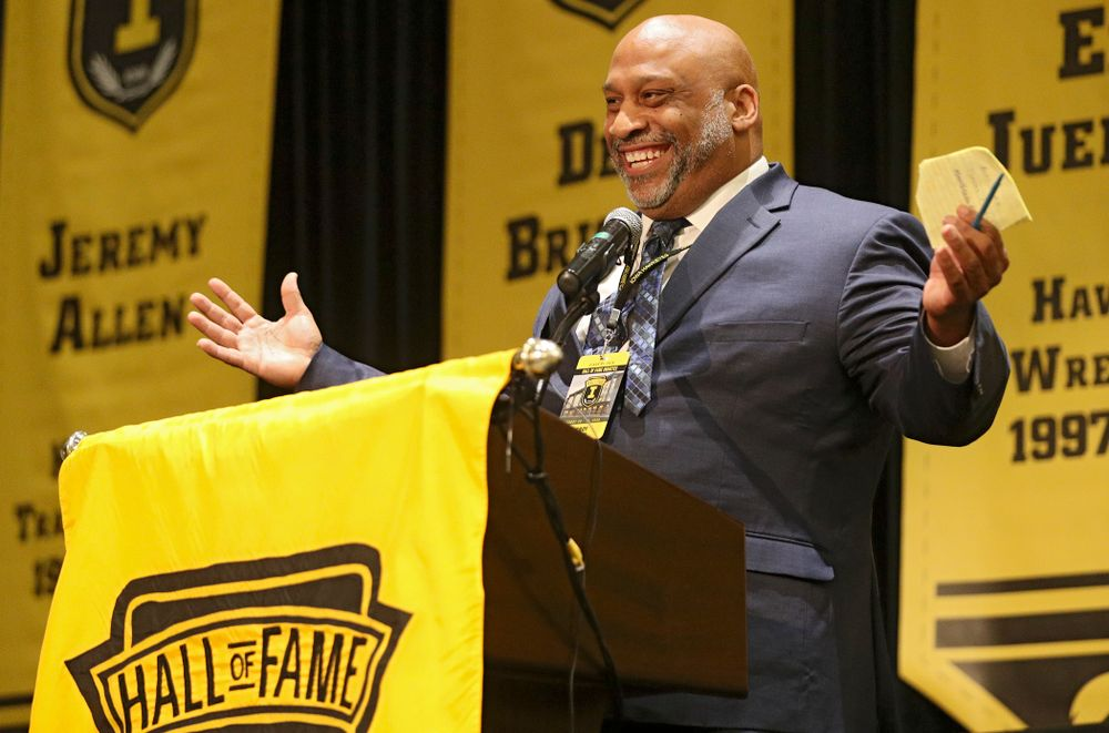 2019 University of Iowa Athletics Hall of Fame inductee LeRoy Smith speaks during the Hall of Fame Induction Ceremony at the Coralville Marriott Hotel and Conference Center in Coralville on Friday, Aug 30, 2019. (Stephen Mally/hawkeyesports.com)