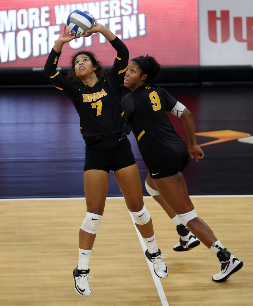 Iowa Hawkeyes setter Brie Orr (7) and middle blocker Amiya Jones (9) against the Iowa State Cyclones Saturday, September 21, 2019 at Carver-Hawkeye Arena. (Brian Ray/hawkeyesports.com)