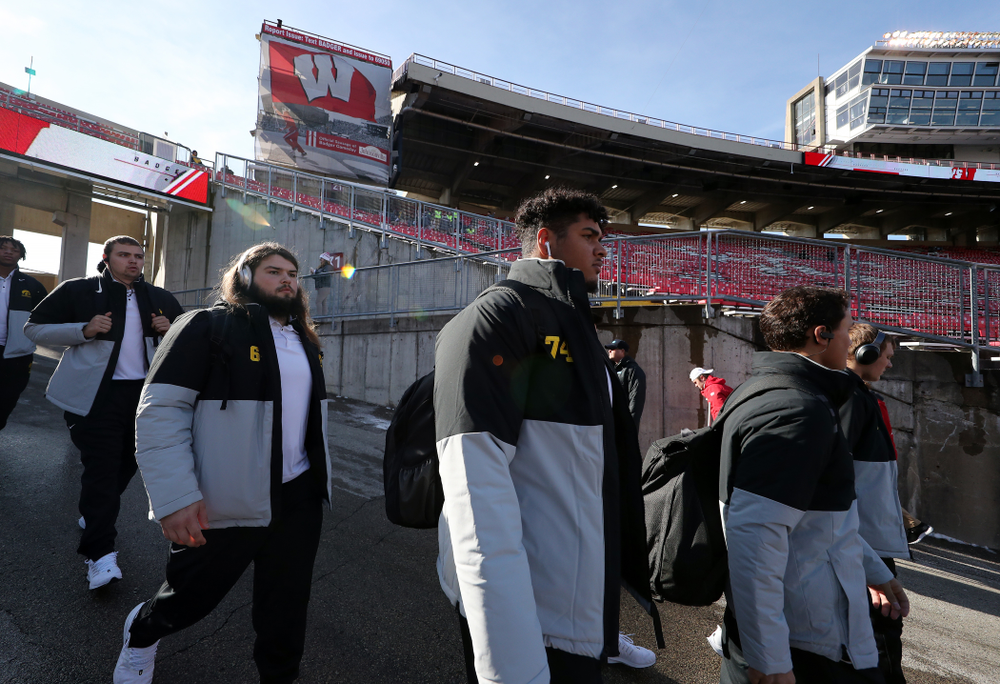 Iowa Hawkeyes offensive lineman Tristan Wirfs (74) against the Wisconsin Badgers Saturday, November 9, 2019 at Camp Randall Stadium in Madison, Wisc. (Brian Ray/hawkeyesports.com)