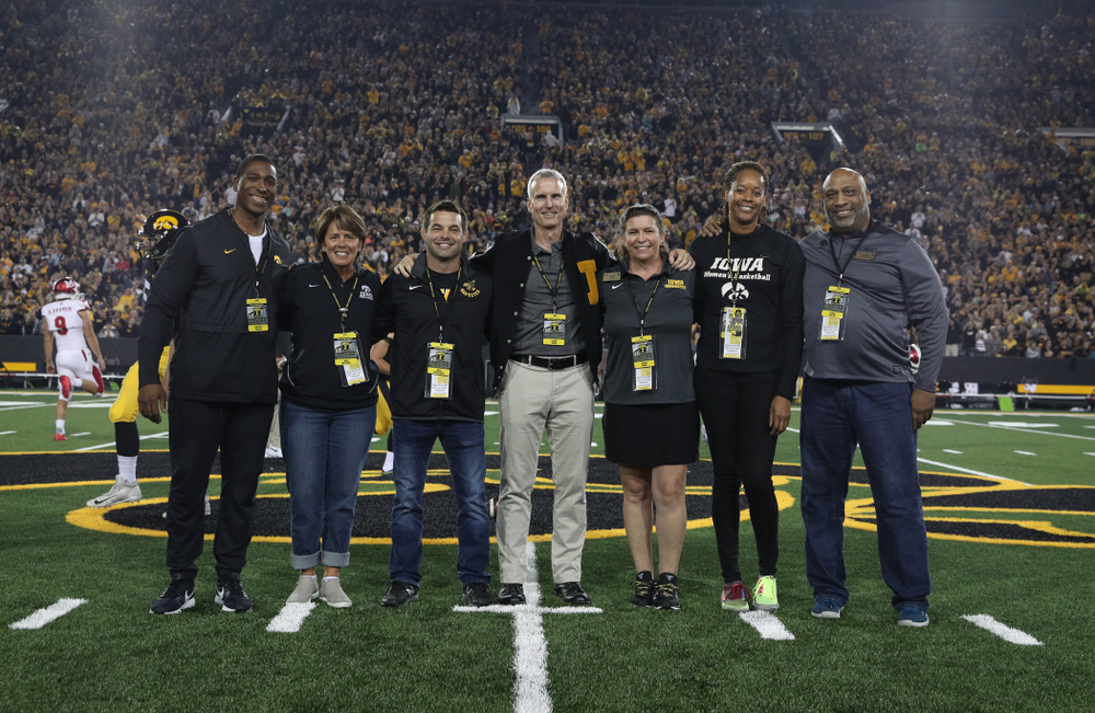 The 2019 Iowa Varsity Club Hall of Fame class during the Iowa Hawkeyes game against the Miami RedHawks Saturday, August 31, 2019 at Kinnick Stadium in Iowa City. (Brian Ray/hawkeyesports.com)
