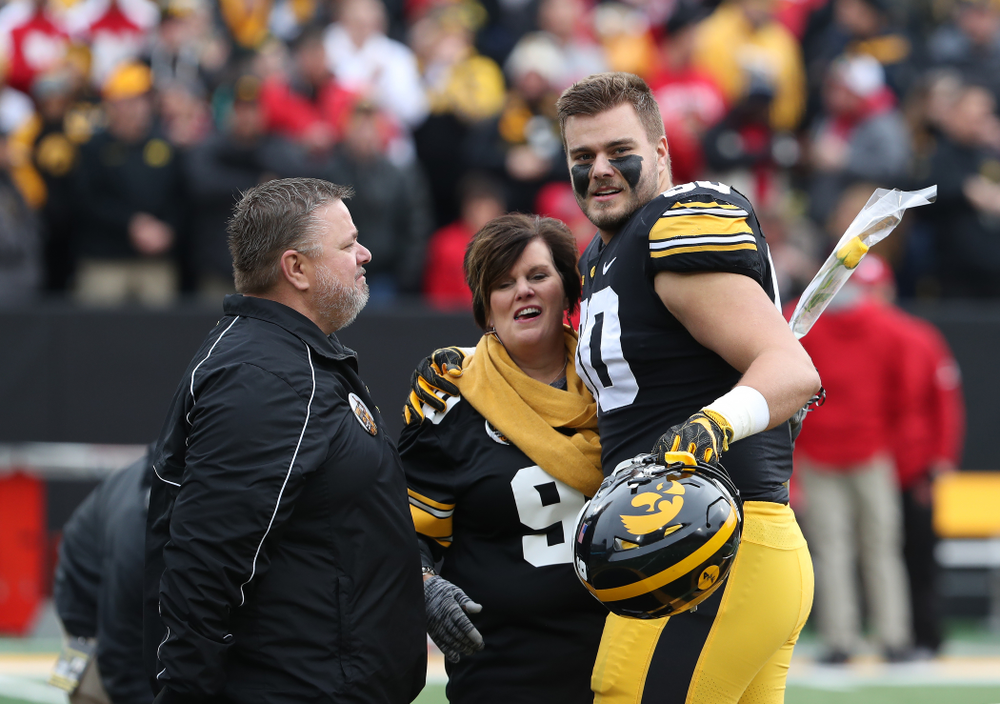 Iowa Hawkeyes defensive end Sam Brincks (90) during senior day activities before their game against the Nebraska Cornhuskers Friday, November 23, 2018 at Kinnick Stadium. (Brian Ray/hawkeyesports.com)