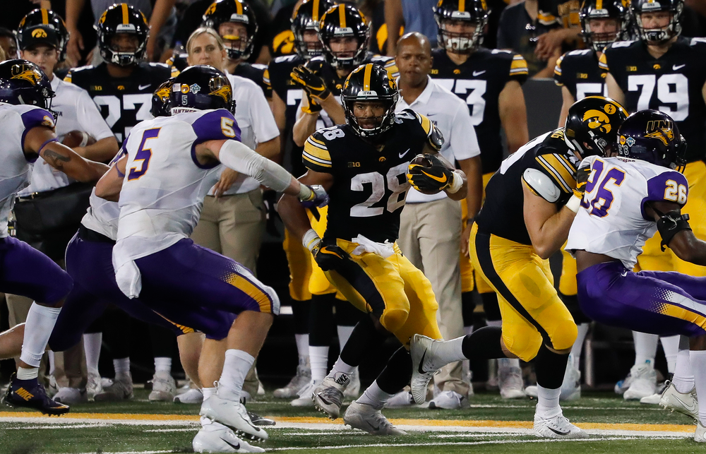 Iowa Hawkeyes running back Toren Young (28) runs the ball during a game against Northern Iowa at Kinnick Stadium on September 15, 2018. (Tork Mason/hawkeyesports.com)