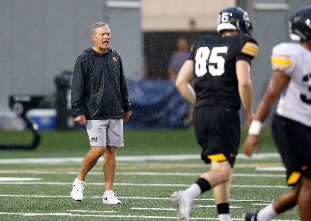 Iowa Hawkeyes head coach Kirk Ferentz during camp practice No. 15  Monday, August 20, 2018 at the Hansen Football Performance Center. (Brian Ray/hawkeyesports.com)