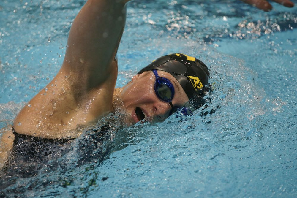 Iowa's Alleyna Thomas swims the 1000-yard freestyle during the Iowa swimming and diving meet vs Notre Dame and Illinois on Saturday, January 11, 2020 at the Campus Recreation and Wellness Center. (Lily Smith/hawkeyesports.com)