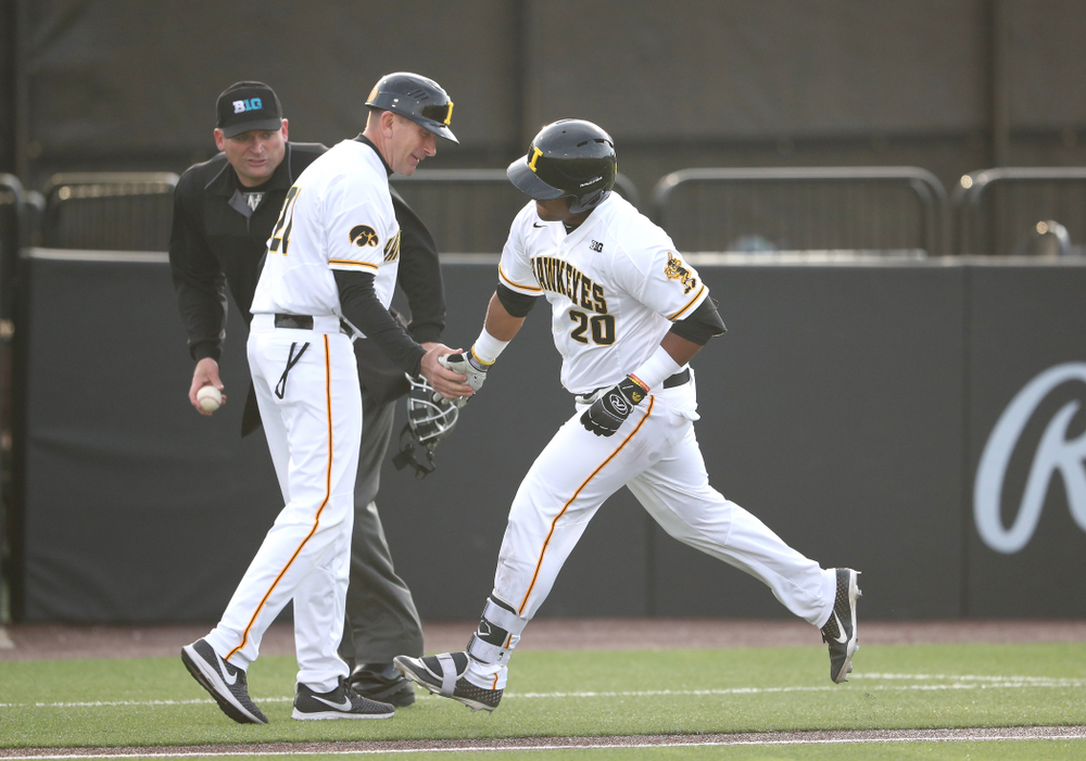 Iowa Hawkeyes Izaya Fullard (20) rounds third on a home run during game one against UC Irvine Friday, May 3, 2019 at Duane Banks Field. (Brian Ray/hawkeyesports.com)
