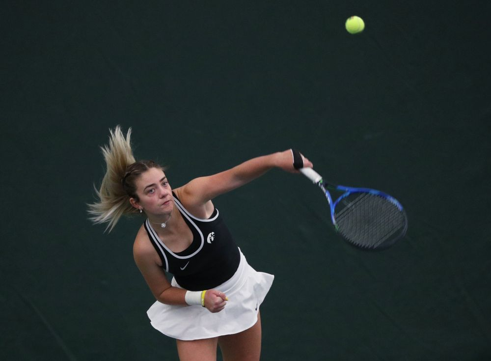 Iowa's Sophie Clark during a doubles match against North Texas Sunday, January 20, 2019 at the Hawkeye Tennis and Recreation Center. (Brian Ray/hawkeyesports.com)