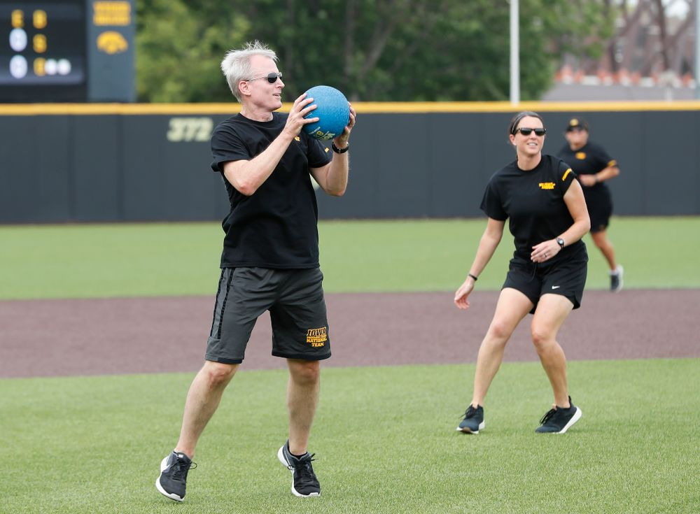 Head Swimming and Diving Coach Marc Long during the Iowa Student Athlete Kickoff Kickball game  Sunday, August 19, 2018 at Duane Banks Field. (Brian Ray/hawkeyesports.com)