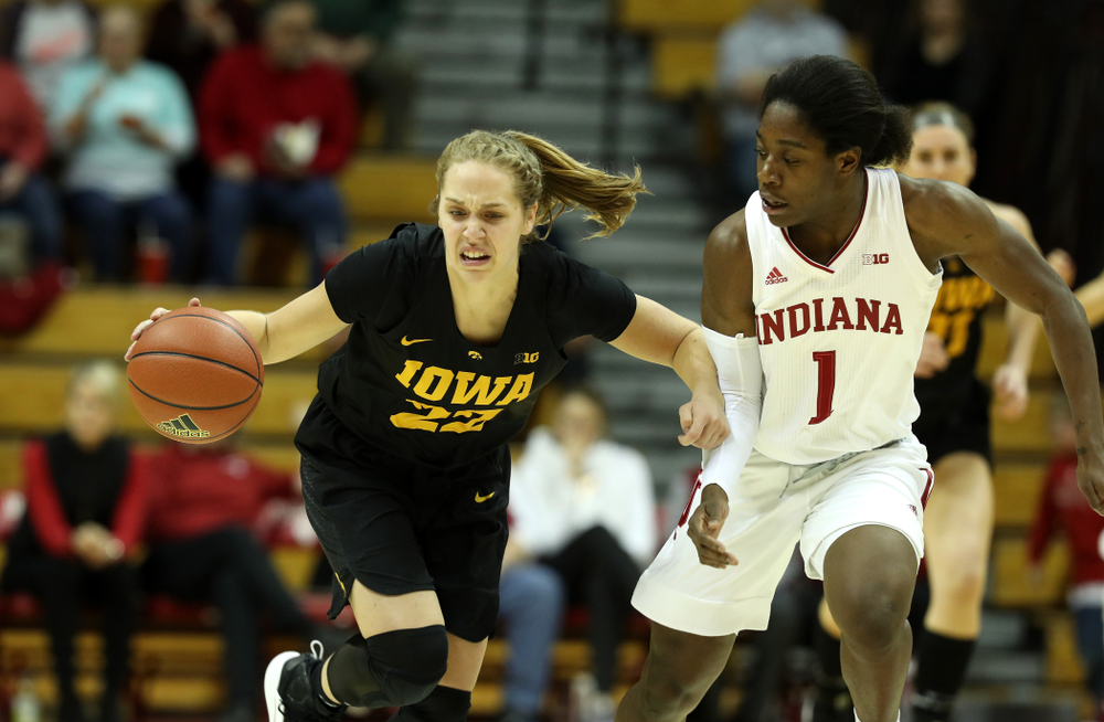 Iowa Hawkeyes guard Kathleen Doyle (22) against the Indiana Hoosiers Thursday, February 21, 2019 at Simon Skjodt Assembly Hall. (Brian Ray/hawkeyesports.com)