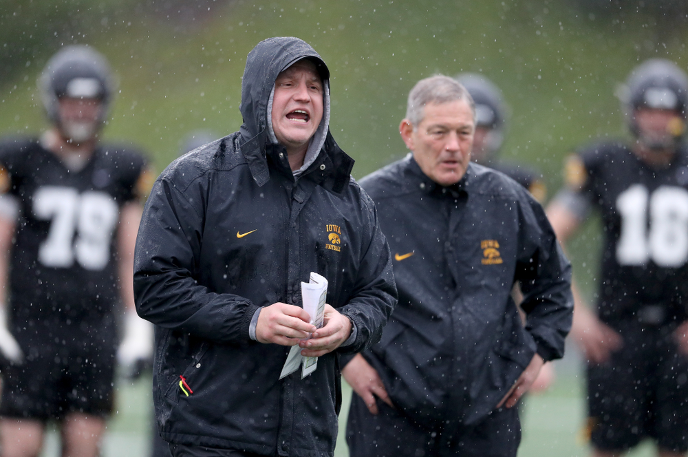 Iowa Hawkeyes offensive coordinator Brian Ferentz  coaches during practice Monday, December 23, 2019 at Mesa College in San Diego. (Brian Ray/hawkeyesports.com)