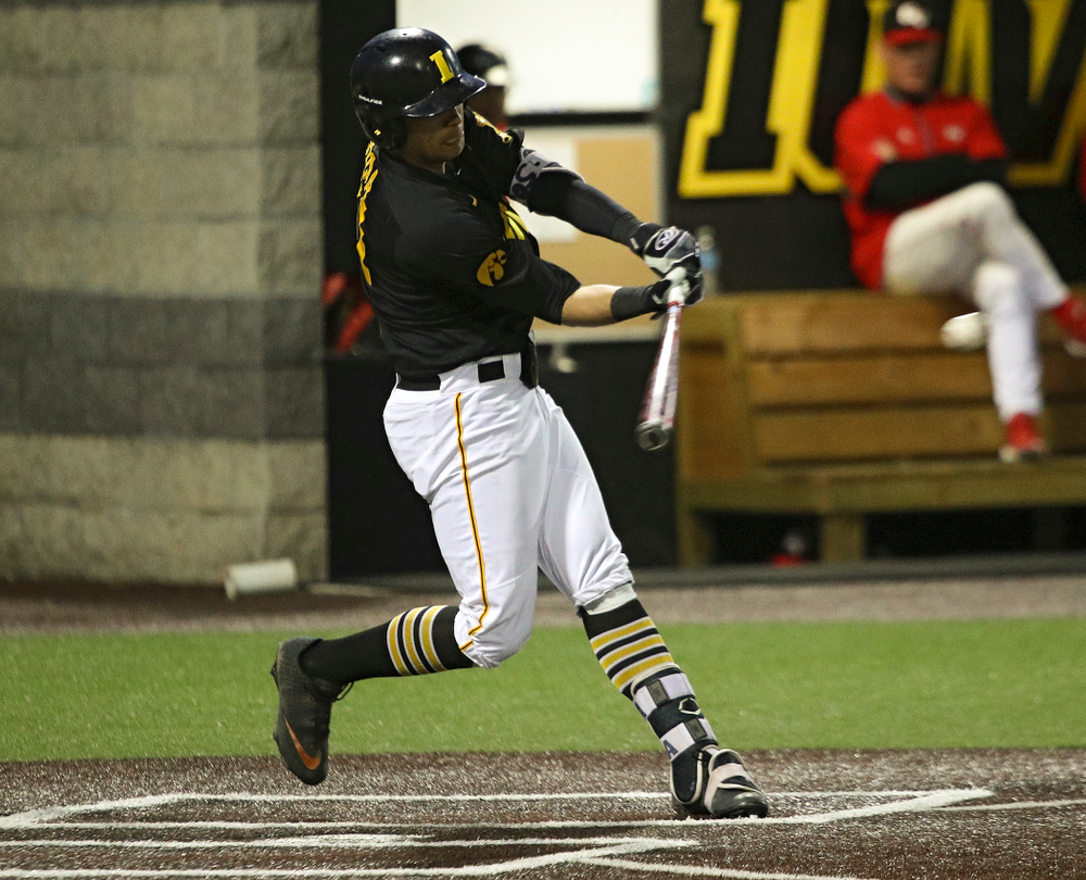 Iowa infielder Matthew Sosa (31) gets a hit during the seventh inning of their game at Duane Banks Field in Iowa City on Tuesday, March 3, 2020. (Stephen Mally/hawkeyesports.com)