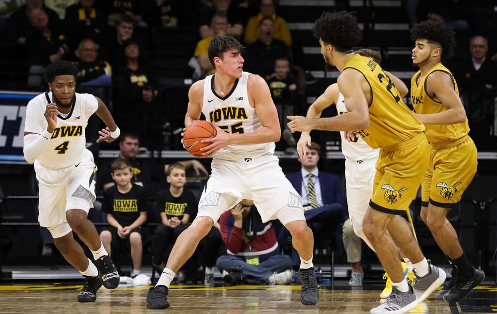Iowa Hawkeyes forward Luka Garza (55) looks to pass the ball during a game against Alabama State at Carver-Hawkeye Arena on November 21, 2018. (Tork Mason/hawkeyesports.com)