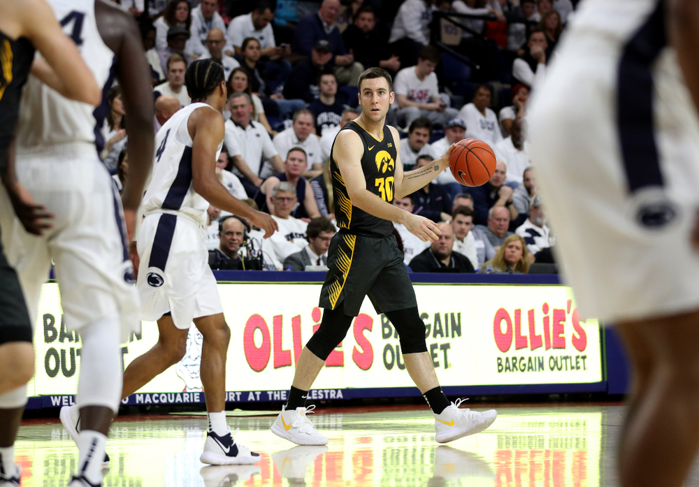 Iowa Hawkeyes guard Connor McCaffery (30) against Penn State Saturday, January 4, 2020 at the Palestra in Philadelphia. (Brian Ray/hawkeyesports.com)