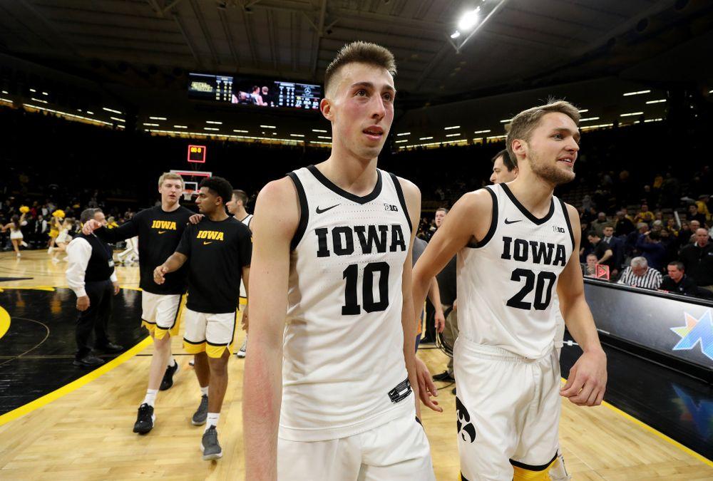 Iowa Hawkeyes guard Joe Wieskamp (10) and forward Riley Till (20) against the Minnesota Golden Gophers Monday, December 9, 2019 at Carver-Hawkeye Arena. (Brian Ray/hawkeyesports.com)