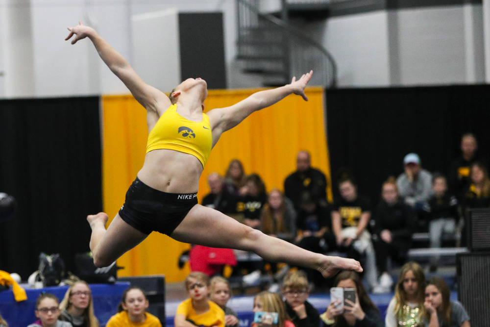 Allyson Steffensmeier performs a floor routine during the Iowa women's gymnastics Black and Gold Intraquad Meet on Saturday, December 7, 2019 at the UI Field House. (Lily Smith/hawkeyesports.com)