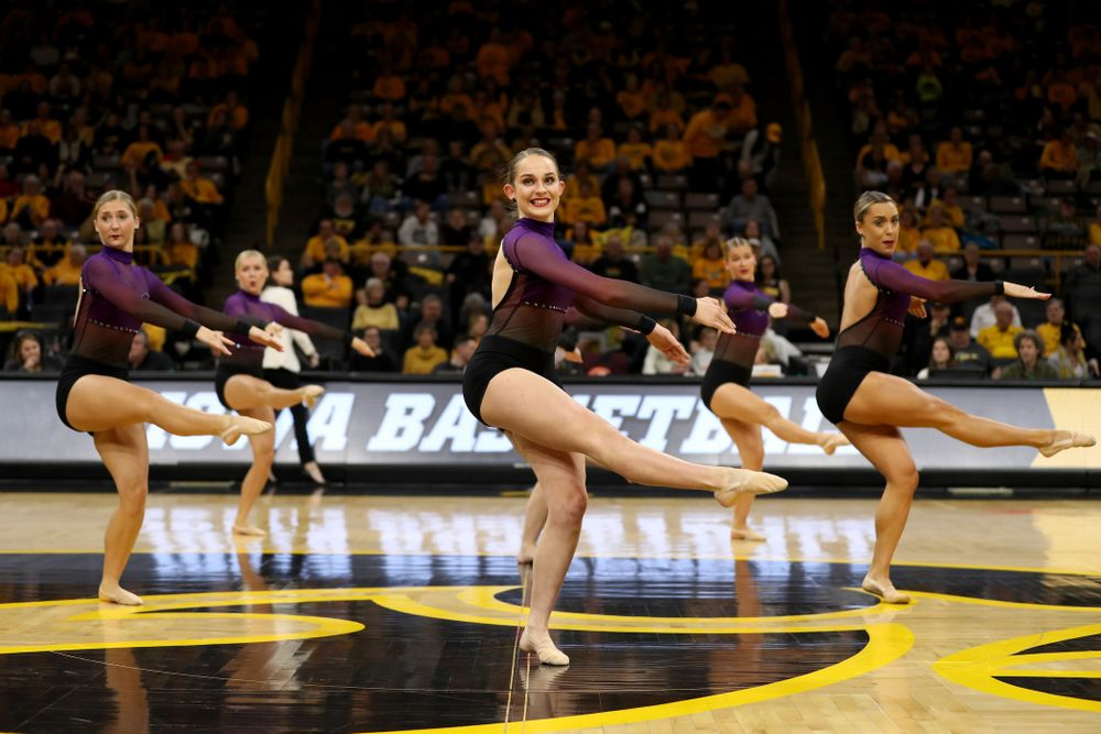 The Iowa Dance Team performs their Jazz Routine at halftime of the Iowa Hawkeyes game against Maryland Thursday, January 9, 2020 at Carver-Hawkeye Arena. (Brian Ray/hawkeyesports.com)