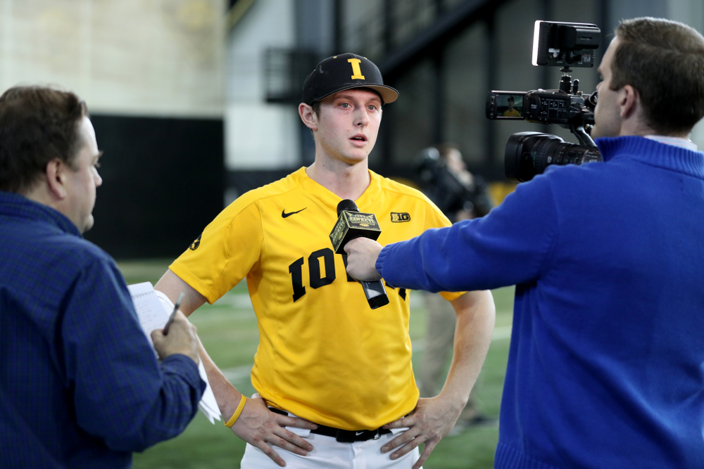 Iowa Hawkeyes Trenton Wallace (38) answers questions from reporters during their annual media day Thursday, February 6, 2020 at the Indoor Practice Facility. (Brian Ray/hawkeyesports.com)
