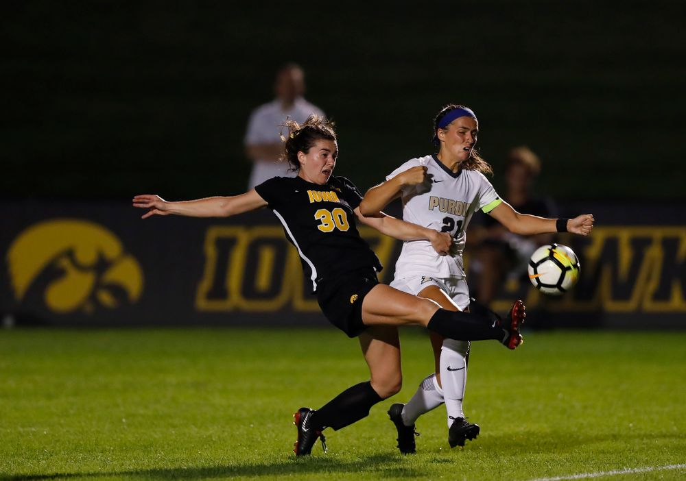 Iowa Hawkeyes Devin Burns (30) against the Purdue Boilermakers Thursday, September 20, 2018 at the Iowa Soccer Complex. (Brian Ray/hawkeyesports.com)