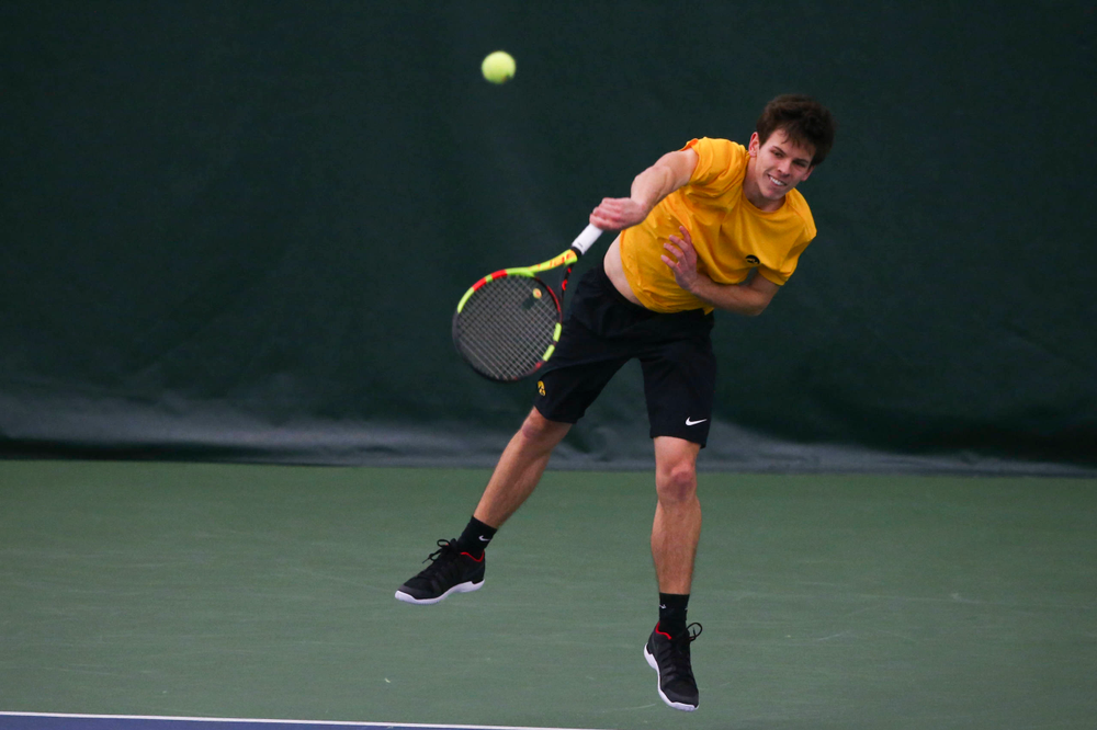 Iowa's Joe Tyler at a tennis match vs Drake  Friday, March 8, 2019 at the Hawkeye Tennis and Recreation Complex. (Lily Smith/hawkeyesports.com)