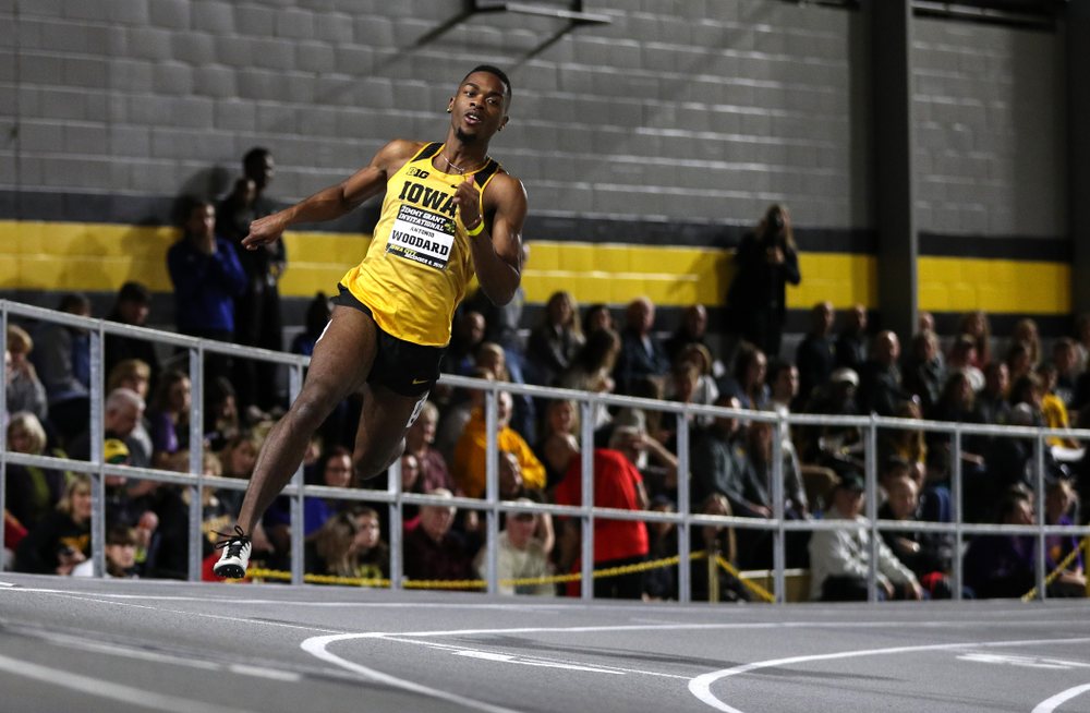 Iowa's Antonio Woodard runs the 300-meters during the Jimmy Grant Invitational Saturday, December 8, 2018 at the Recreation Building. (Brian Ray/hawkeyesports.com)