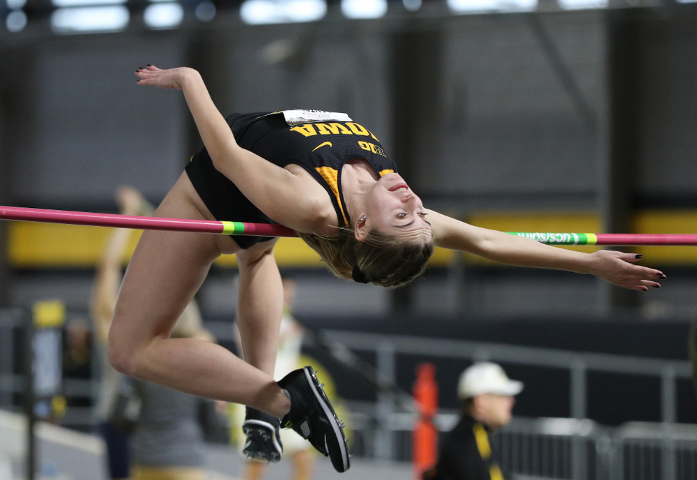 Iowa's Aubrianna Lantrip competes in the high jump during the 2019 Larry Wieczorek Invitational  Friday, January 18, 2019 at the Hawkeye Tennis and Recreation Center. (Brian Ray/hawkeyesports.com)