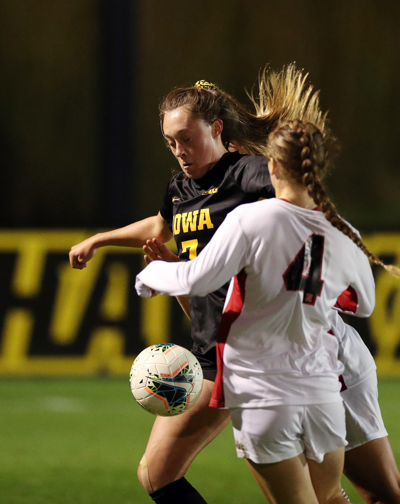 Iowa Hawkeyes forward Skylar Alward (7) against the Nebraska Cornhuskers Thursday, October 3, 2019 at the Iowa Soccer Complex. (Brian Ray/hawkeyesports.com)