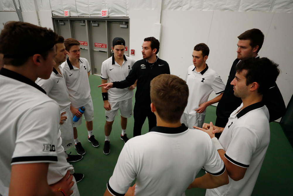 Head Coach Ross Wilson against Purdue Sunday, April 15, 2018 at the Hawkeye Tennis and Recreation Center. (Brian Ray/hawkeyesports.com)