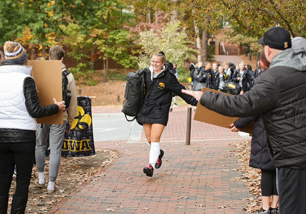 Iowa's Katie Birch (11) arrives with her teammates before their NCAA Tournament Second Round match against North Carolina at Karen Shelton Stadium in Chapel Hill, N.C. on Sunday, Nov 17, 2019. (Stephen Mally/hawkeyesports.com)