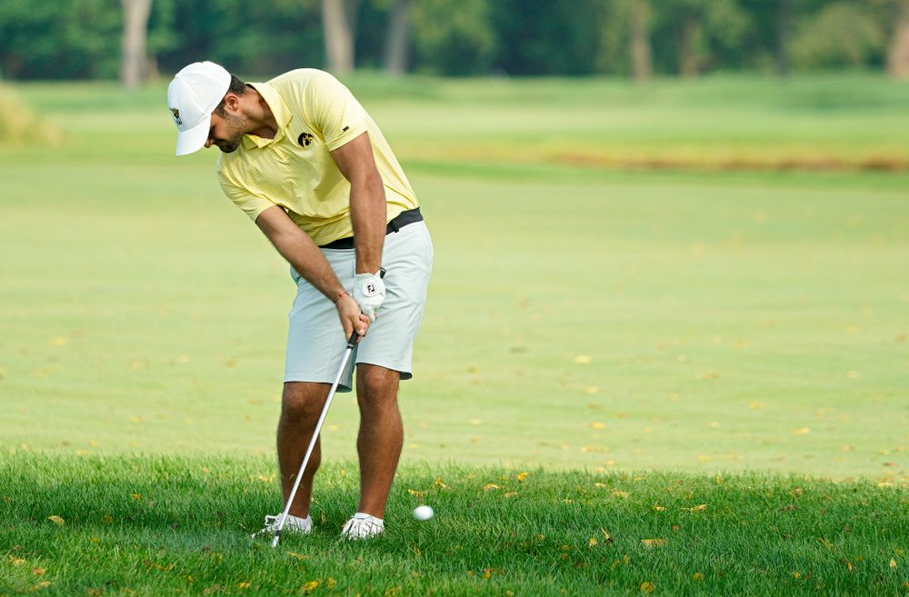 Iowa's Gonzalo Leal drives a shot during the third day of the Golfweek Conference Challenge at the Cedar Rapids Country Club in Cedar Rapids on Tuesday, Sep 17, 2019. (Stephen Mally/hawkeyesports.com)