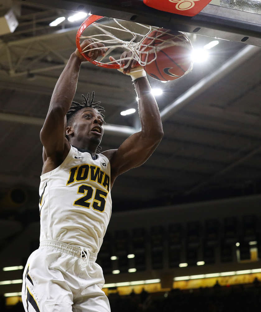 Iowa Hawkeyes forward Tyler Cook (25) dunks the ball during a game against Alabama State at Carver-Hawkeye Arena on November 21, 2018. (Tork Mason/hawkeyesports.com)