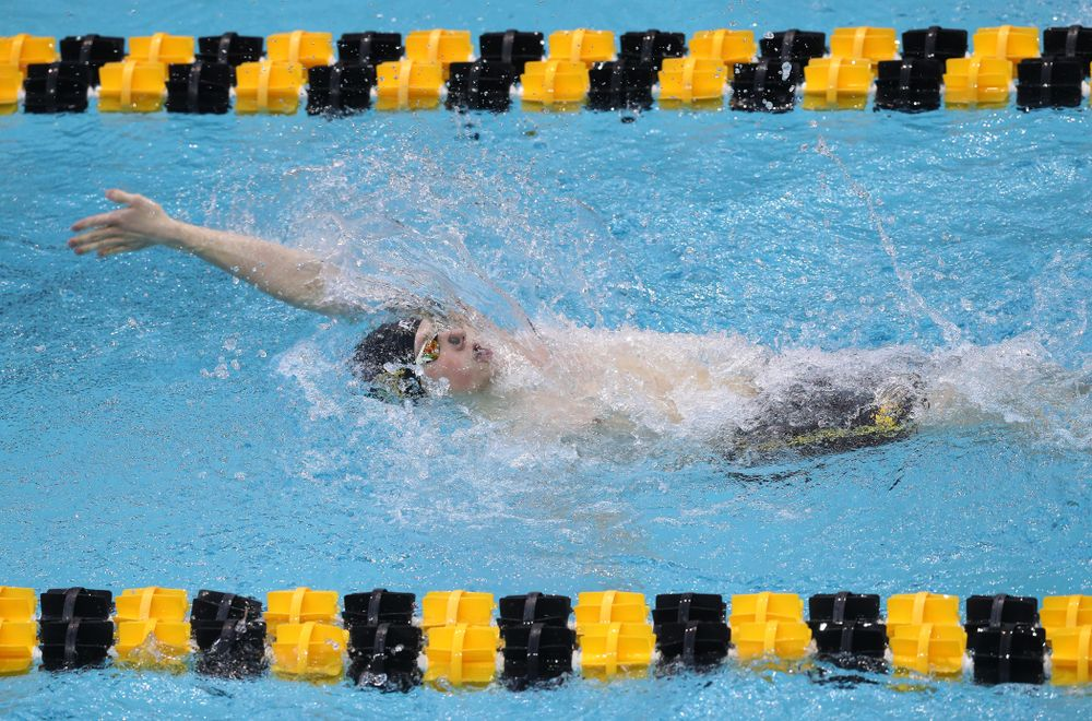 Iowa's John Colin competes in the 200-yard backstroke during the 2019 Big Ten Men's Swimming and Diving Championships Saturday, March 2, 2019 at the Campus Wellness and Recreation Center. (Brian Ray/hawkeyesports.com)