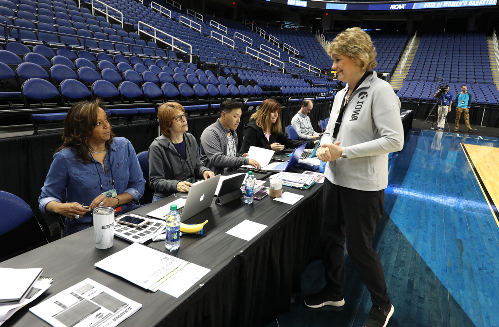 Iowa Hawkeyes head coach Lisa Bluder during media and practice as they prepare for their Sweet 16 matchup against NC State Friday, March 29, 2019 at the Greensboro Coliseum in Greensboro, NC.(Brian Ray/hawkeyesports.com)