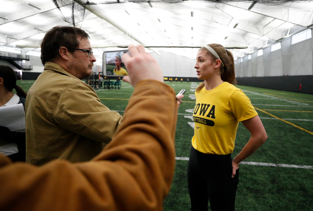 Iowa's Allison Doocy answers questions during the team's annual media day Thursday, February 1, 2018 at the Hawkeye Tennis and Recreation Complex. (Brian Ray/hawkeyesports.com)
