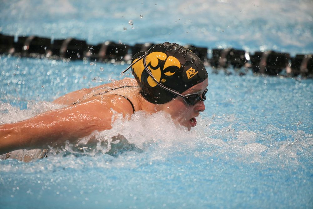 Iowa's Kelsey Drake swims the 100-yard butterfly during the Iowa swimming and diving meet vs Notre Dame and Illinois on Saturday, January 11, 2020 at the Campus Recreation and Wellness Center. (Lily Smith/hawkeyesports.com)