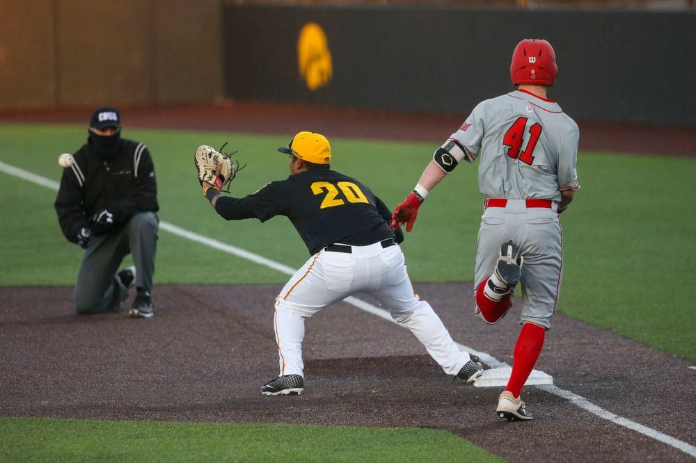 Iowa infielder Izaya Fullard at the game vs. Bradley on Tuesday, March 26, 2019 at (place). (Lily Smith/hawkeyesports.com)