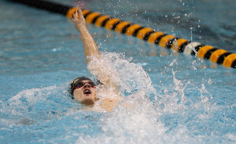 Iowa's Anze Fers Erzen competes in the 200-yard backstroke during the third day of the Hawkeye Invitational at the Campus Recreation and Wellness Center on November 17, 2018. (Tork Mason/hawkeyesports.com)
